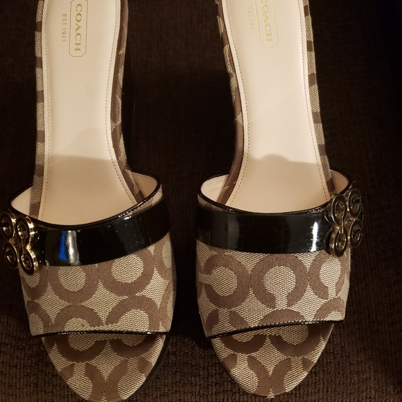 Coach Shoes - COACH Patent Leather Logo Wedge Sandal